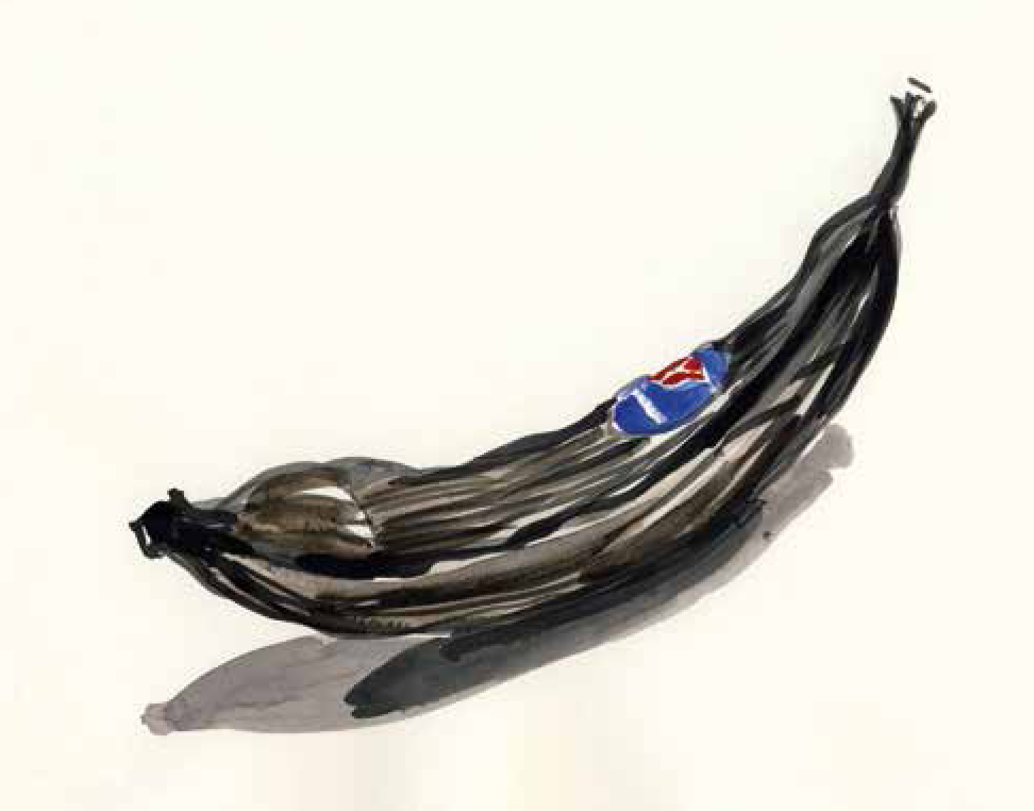 Sehr reife Banane, Aquarell auf Werkdruckpapier, A4