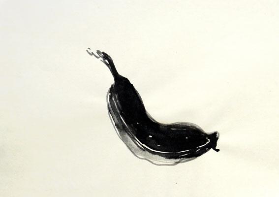 Alte Banane 1, Tusche auf Werkdruckpapier, A4