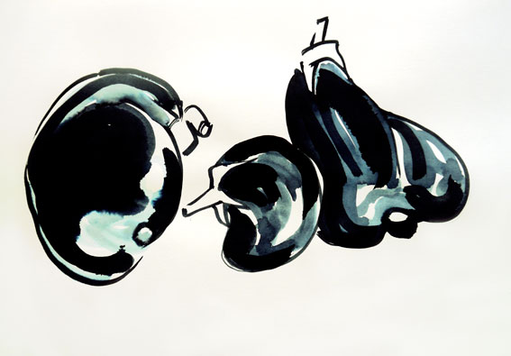 Drei Auberginen, Aquarell auf Werkdruckpapier, A3