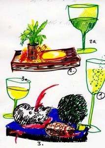 winzersalat auf weinfassbohle, freestyle sushi auf schieferplatte